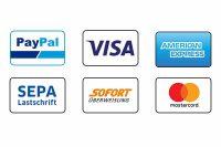 Zahlungsmethoden Mastercard Visa American Express Paypal Sofort Überweisung Klarna Sepa Lastschrift Stripe